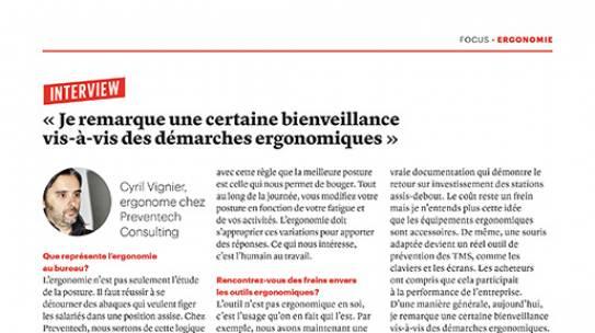 Le Papetier de France – ITW de Cyril Vignier sur l'ergonomie au bureau